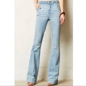 Anthropologie Pilcro Braided Flare Cuff Jeans 1146
